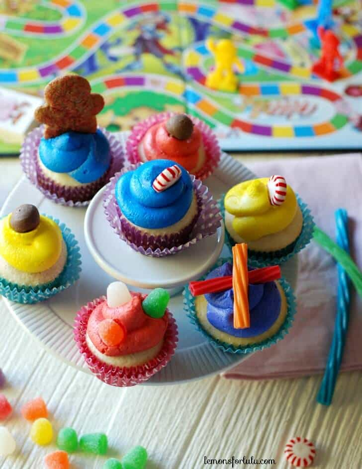 Assortment of Candy Land Cupcakes on a cupcake platter.