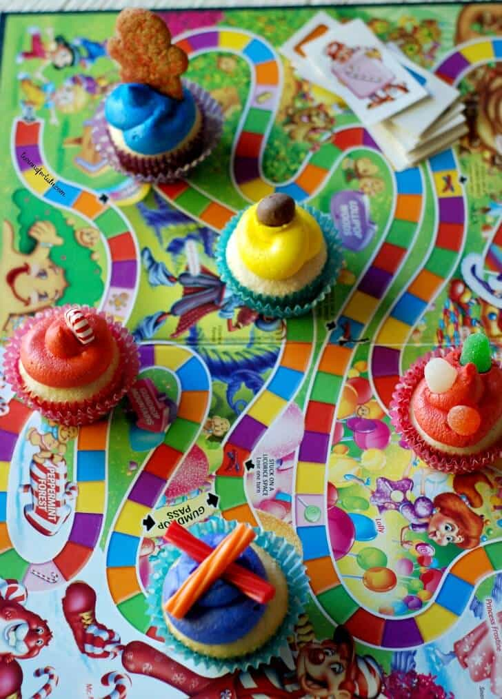 Candy Land cupcakes on a Candy Land board game.