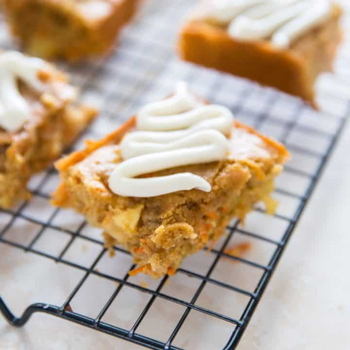 apple carrot cake bars with frosting