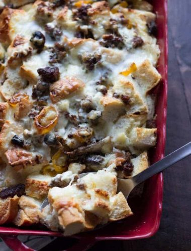 This easy strata recipe is hearty enough for any meal of the day! www.lemonsforlulu.com #pantryinsiders