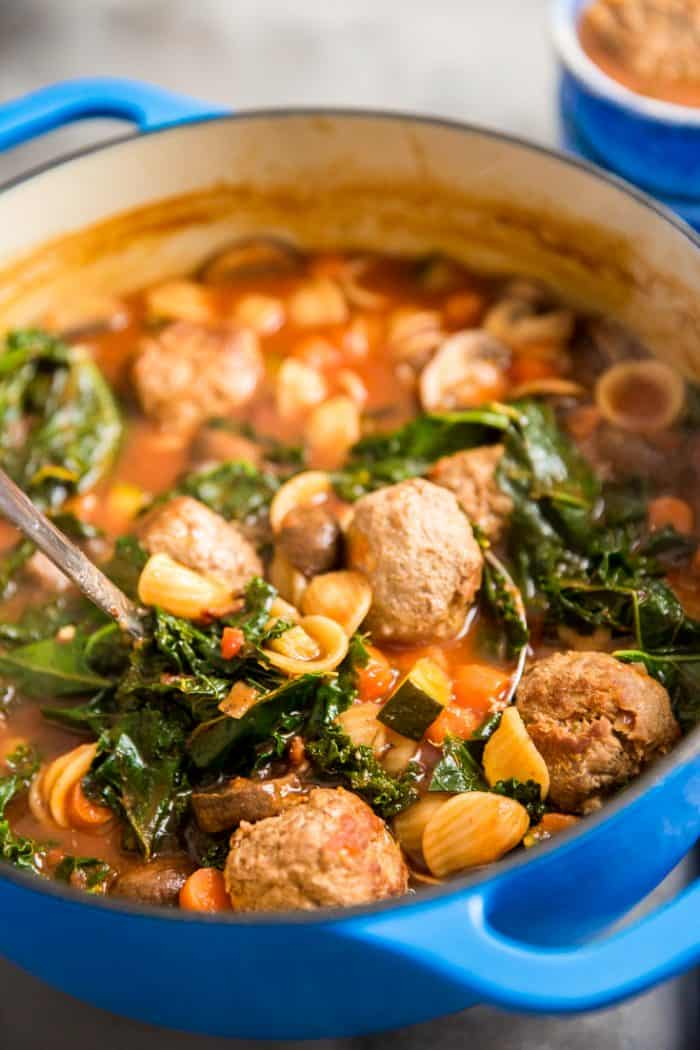 vegetable soup recipe with ladle