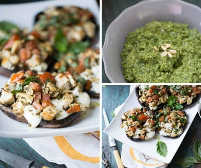 Caprese chicken; pesto coated chicken, juicy tomatoes and soft, fresh mozzarella cheese are stuffed into tender portobello mushroom caps then lightly broiled. Homemade pesto is the key to flavor!