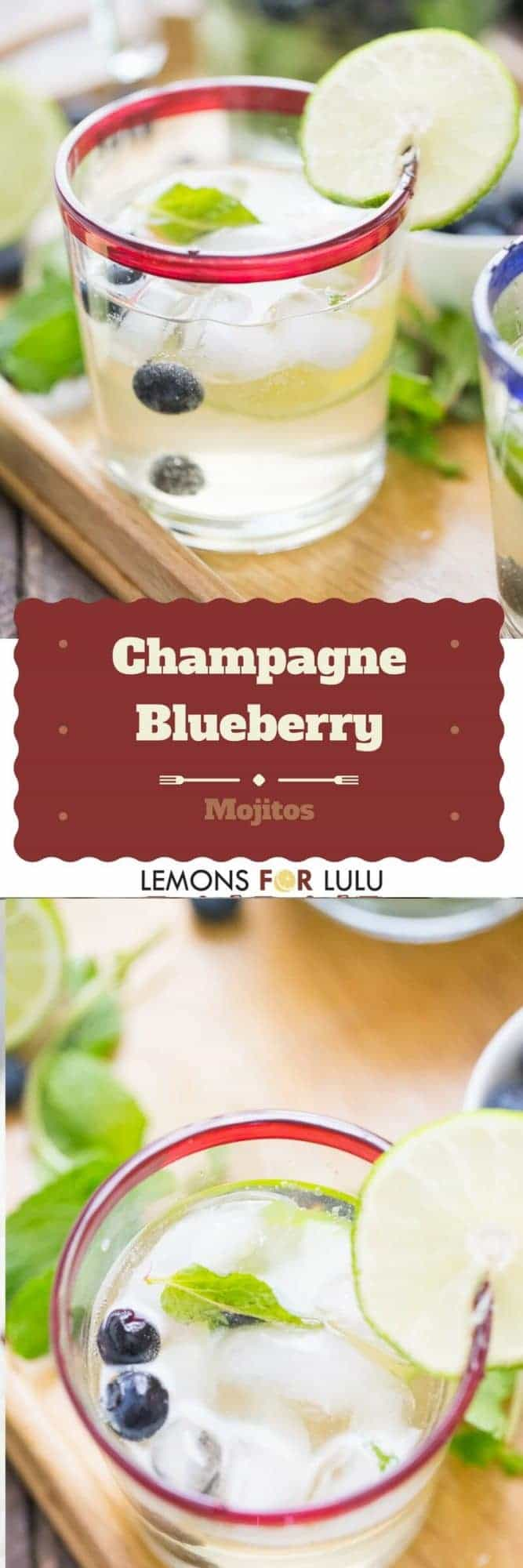 photo collage - glasses of Champagne Blueberry Mojitos with limes, blueberries, fresh mint leaves and ice.