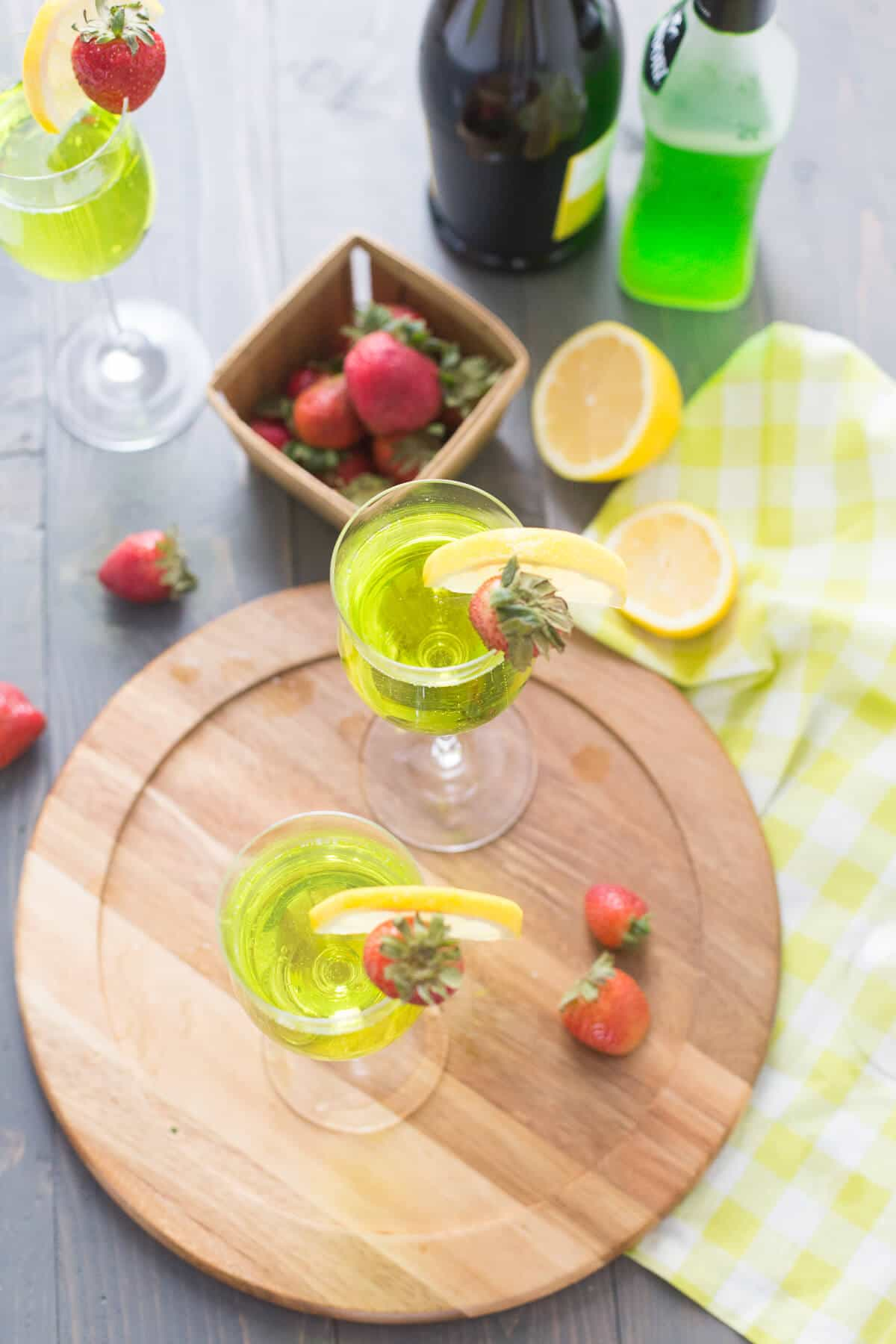 This Irish cocktail is festive and effervescent! Prosecco and Midori are a dynamic duo!
