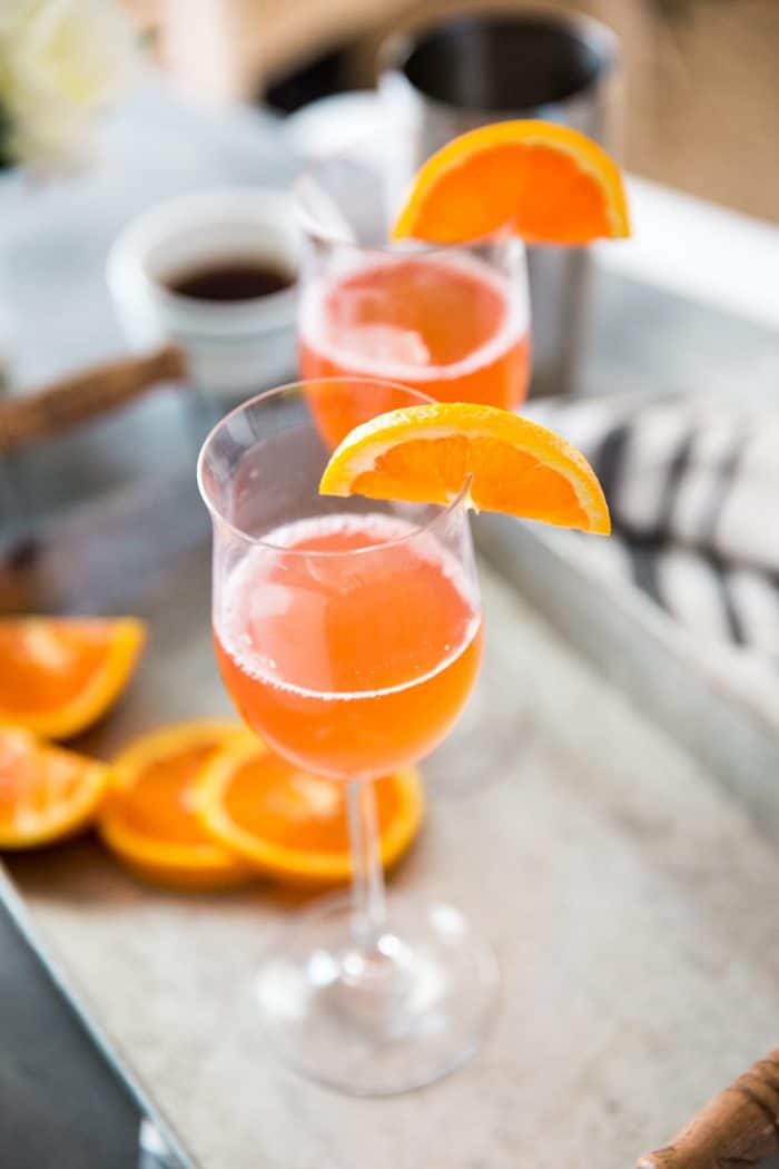 Fuzzy Navel cocktail on a tray