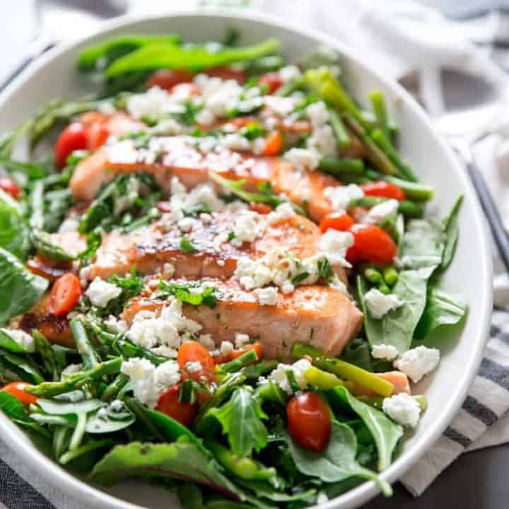 Bourbon Glazed Salmon on salad