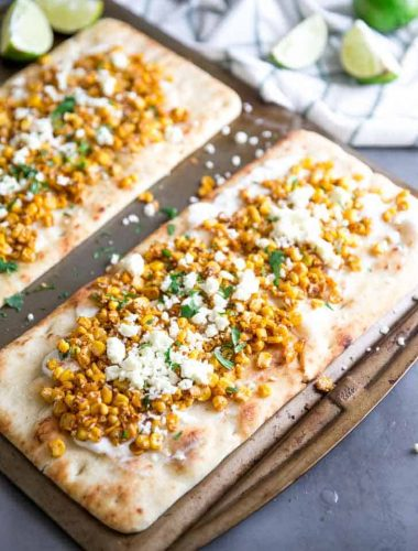 Flatbread Pizza two on a baking sheet
