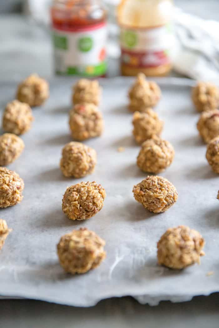 Protein balls lined up