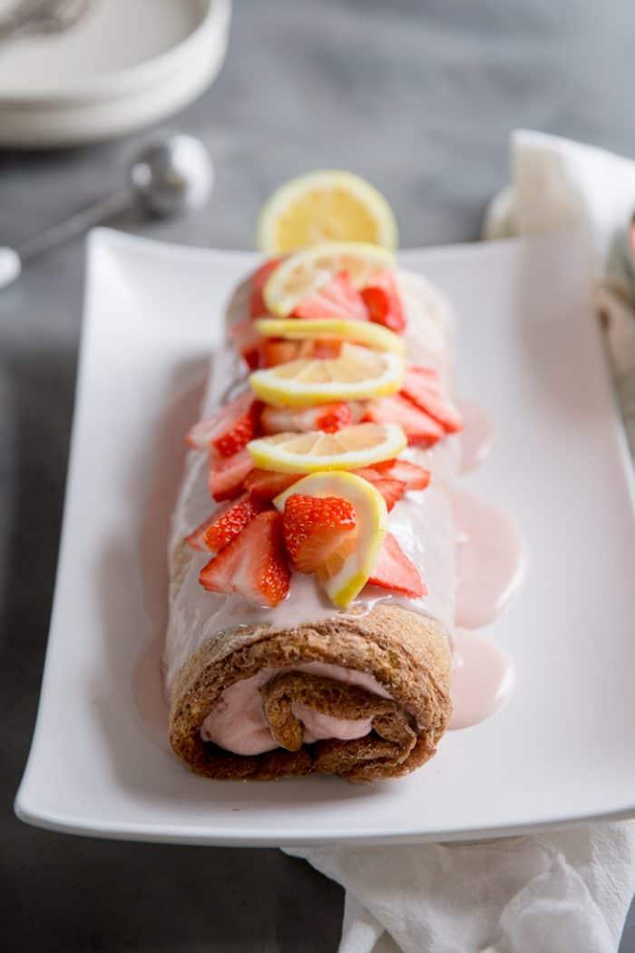 Whole strawberry lemon cake roll