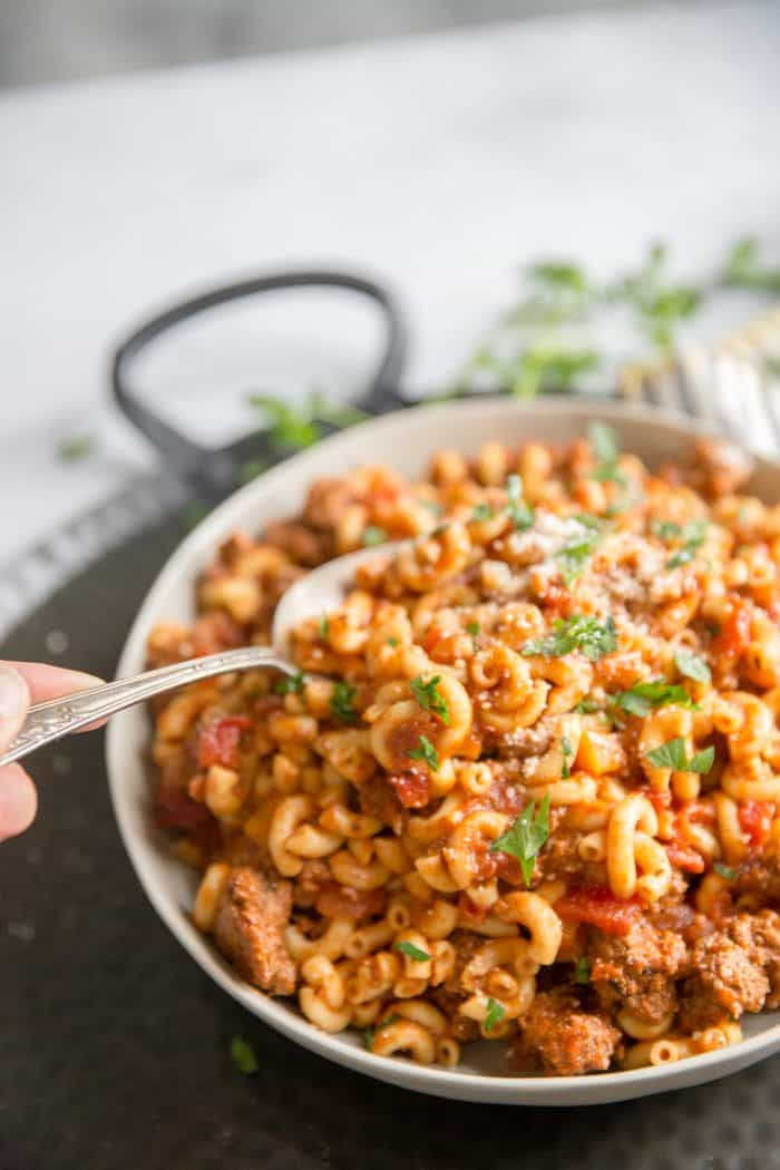 American goulash with spoon