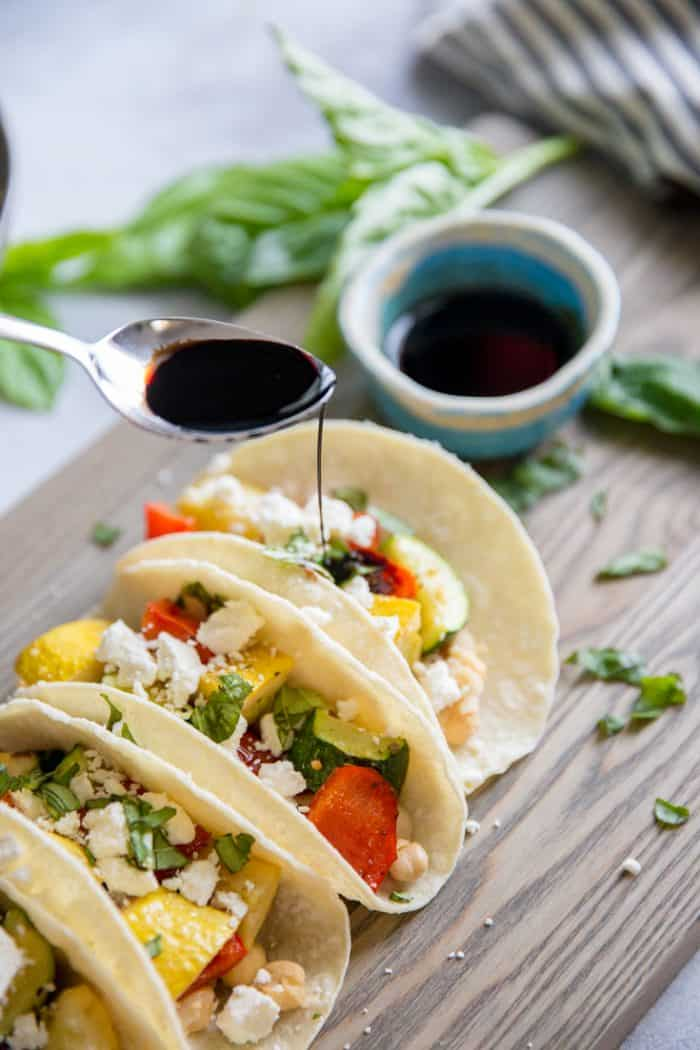 veggie tacos with balsamic reduction