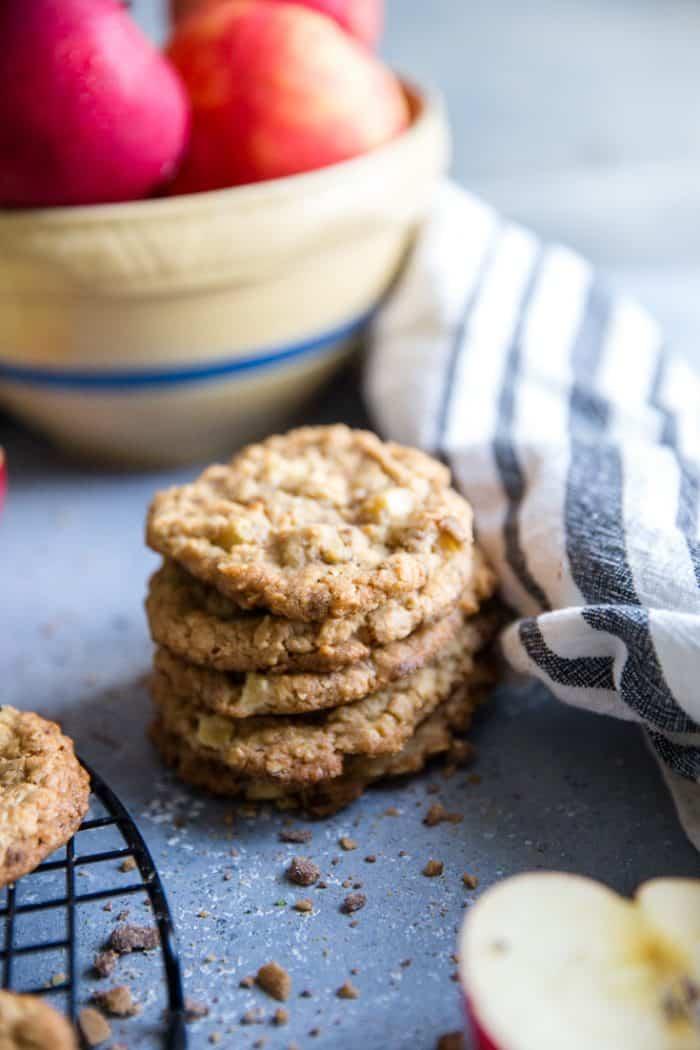 apple oatmeal cookies near apple bowl