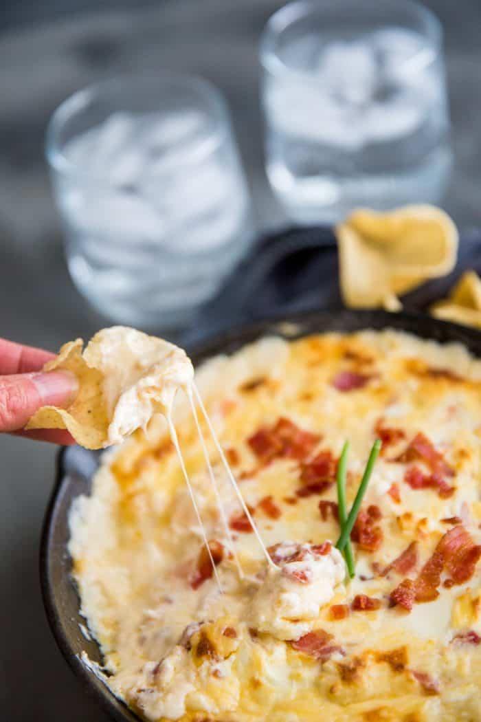 shrimp dip chip taking a scoop