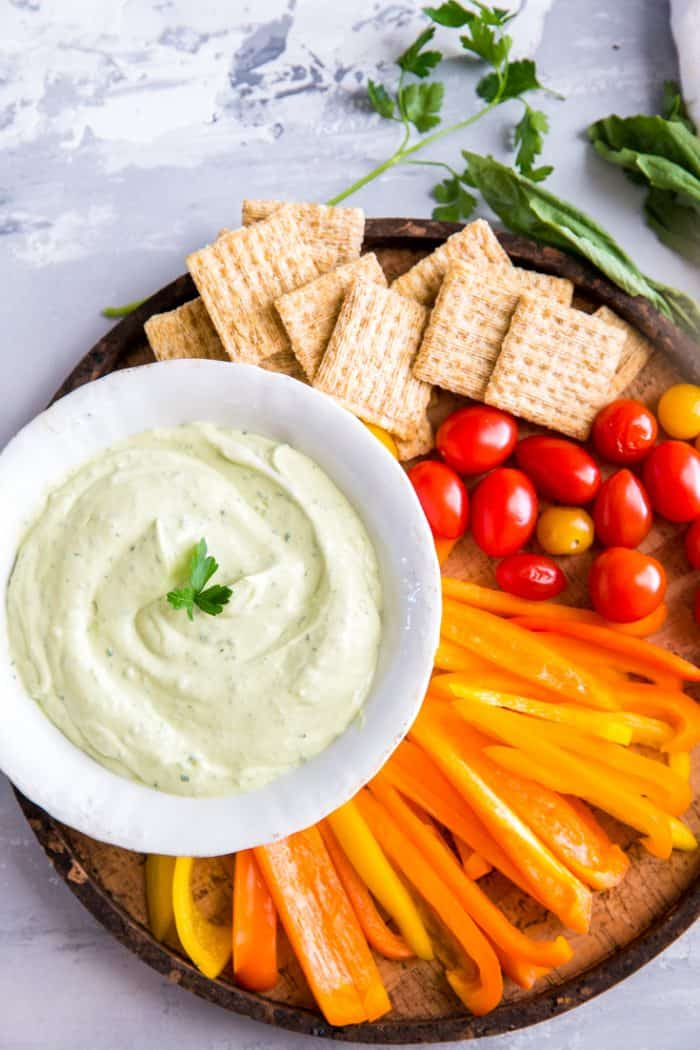 Green goddess dip with peppers