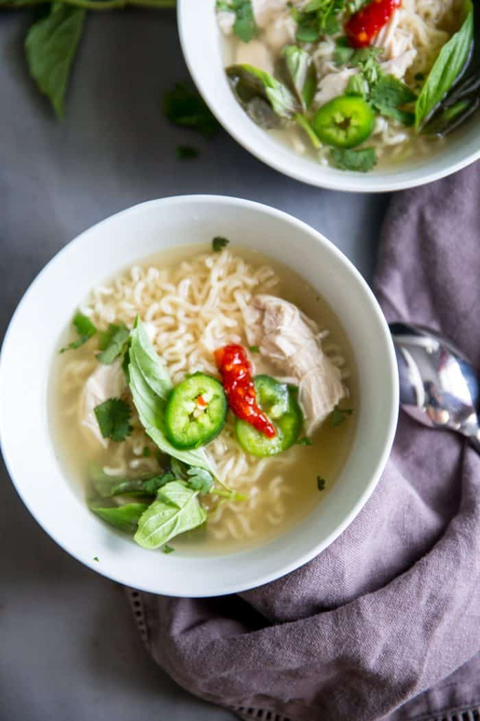 chicken pho spoon on the side