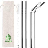 "VEHHE Metal Straws Stainless Steel Straws Drinking Straws Reusable FDA BPA - 10.5"" Ultra Long 4 + 1 - W/Cleaning Brush for 20/30 Oz for Yeti RTIC SIC Ozark Trail Tumblers (2 Straight|2 Bent|1 Brush)"
