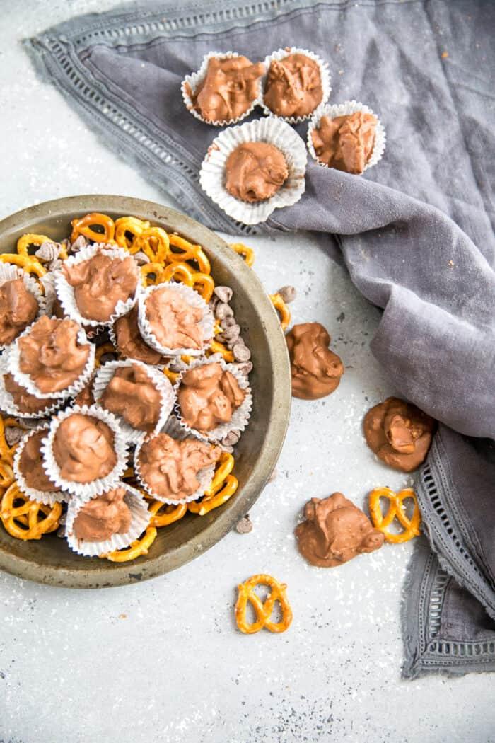 crockpot chocolate candy recipe in metal plate