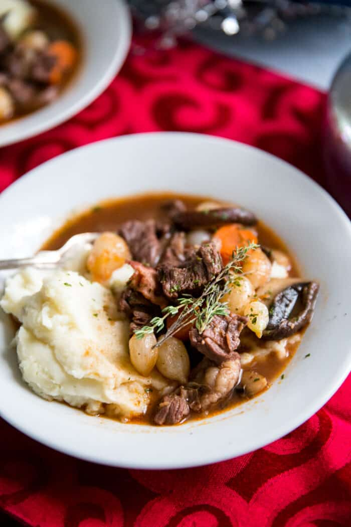 beef bourguignon fork