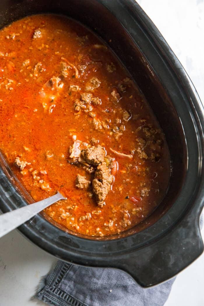 crockpot chili in the crockpot