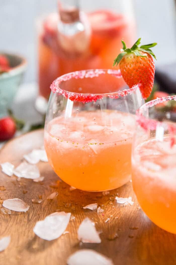 sugar rimmed strawberry margarita