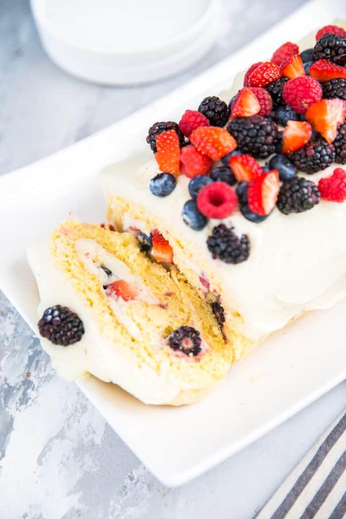 chantilly cake roll sliced