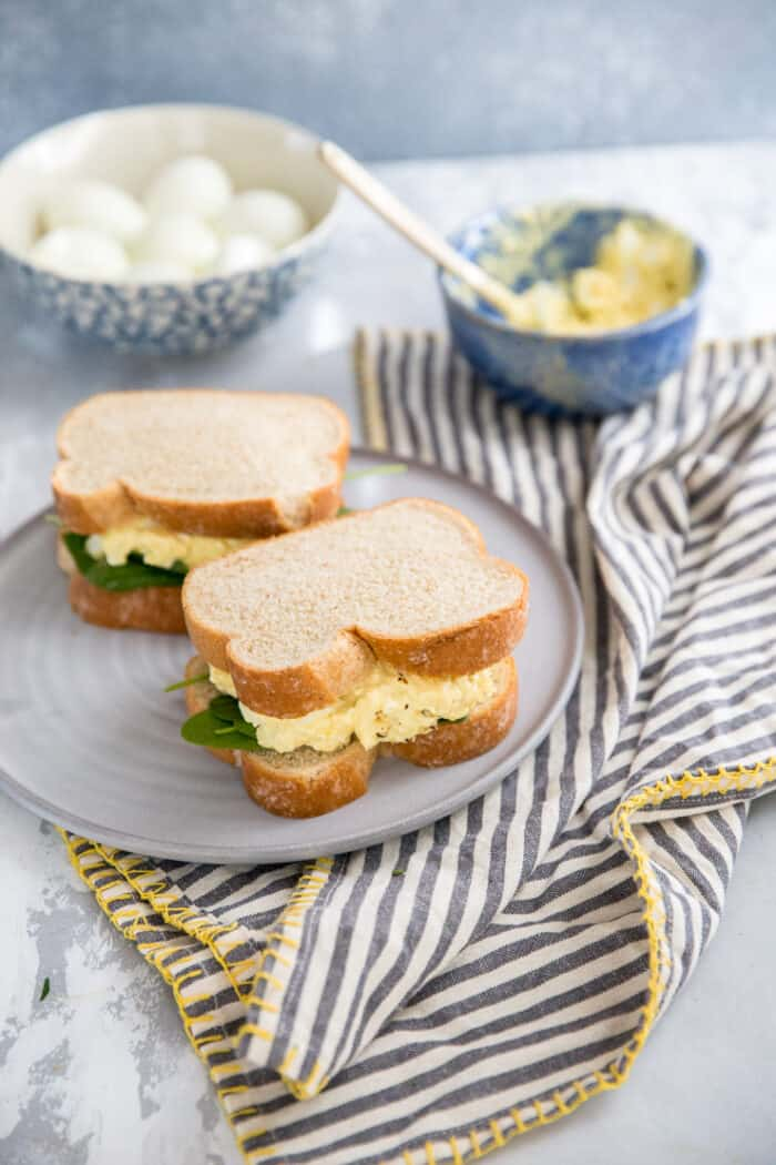 two egg salad sandwiches