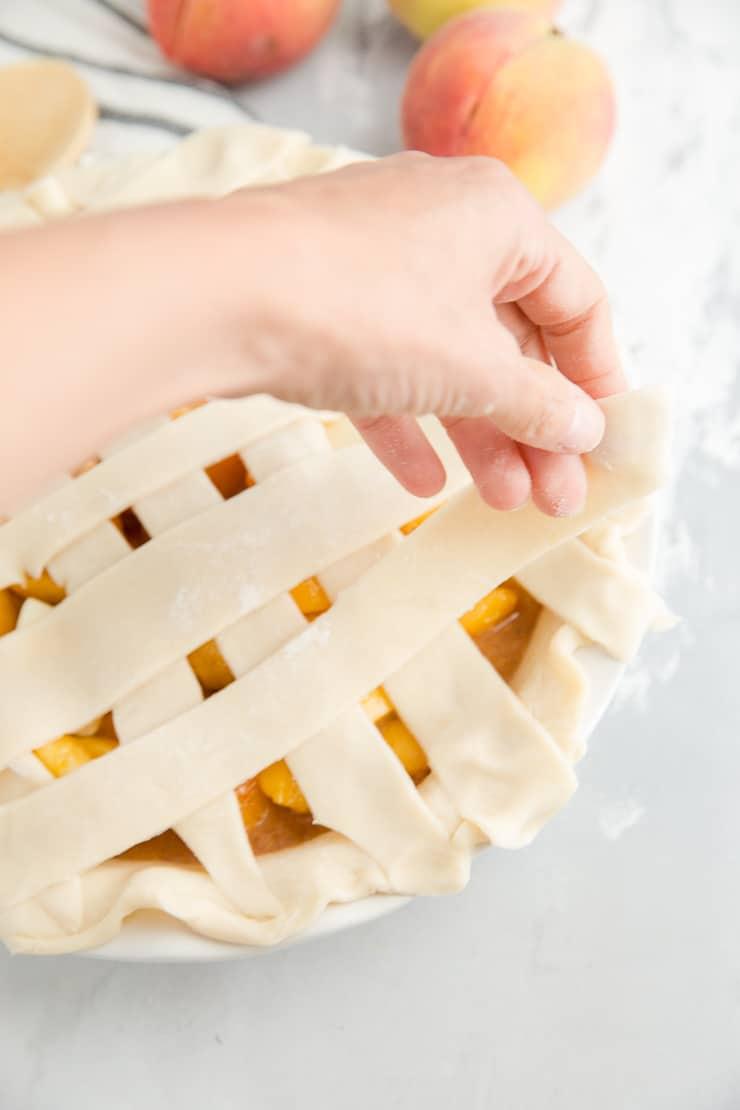 lattice top peach piee