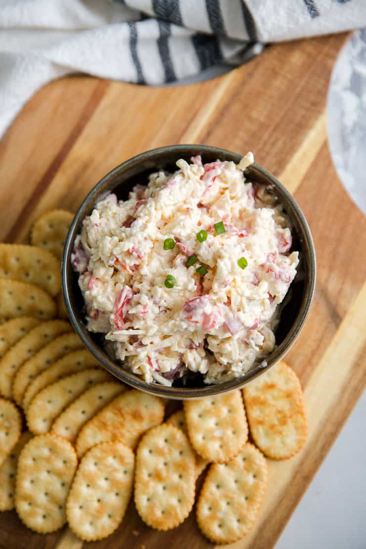 pimento cheese dip served with crackers