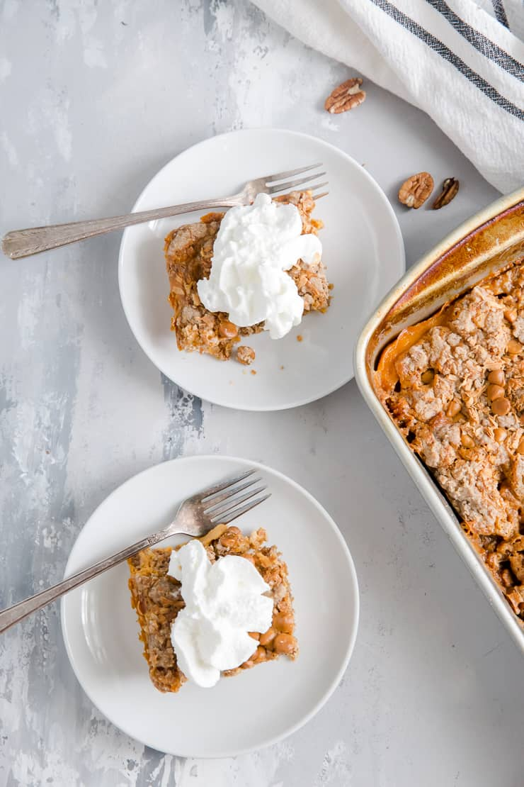 pumpkin dump cake two pieces on the side