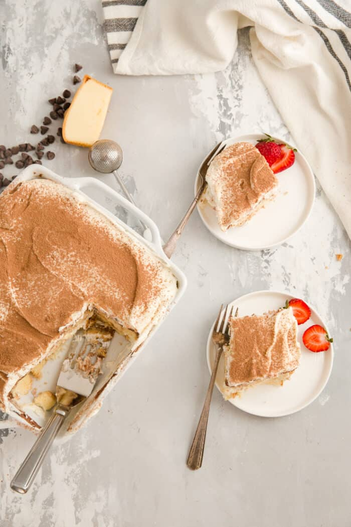 Tiramisu with two slices on the side