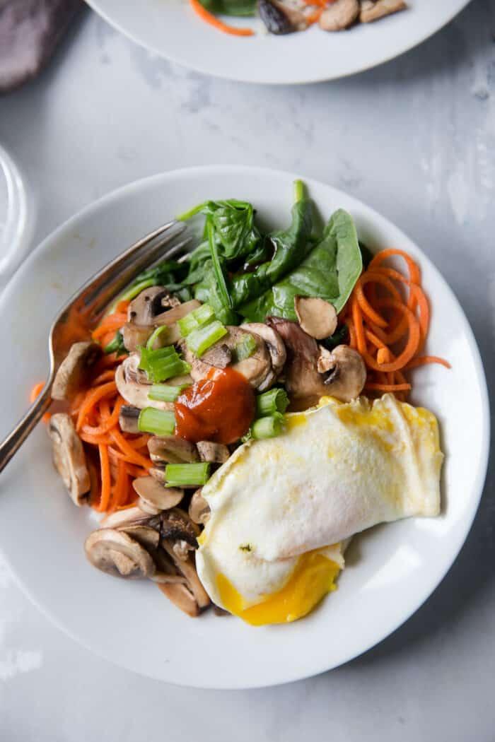 veggie bibimbap bowl white bowl