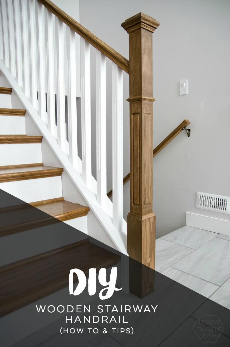 How To Install A Wooden Handrail On Split Level Stairs Lemon Thistle   Oak Wall Mounted Handrail   Oak Stair   Mopstick   Return   Handrail Bracket   Contemporary