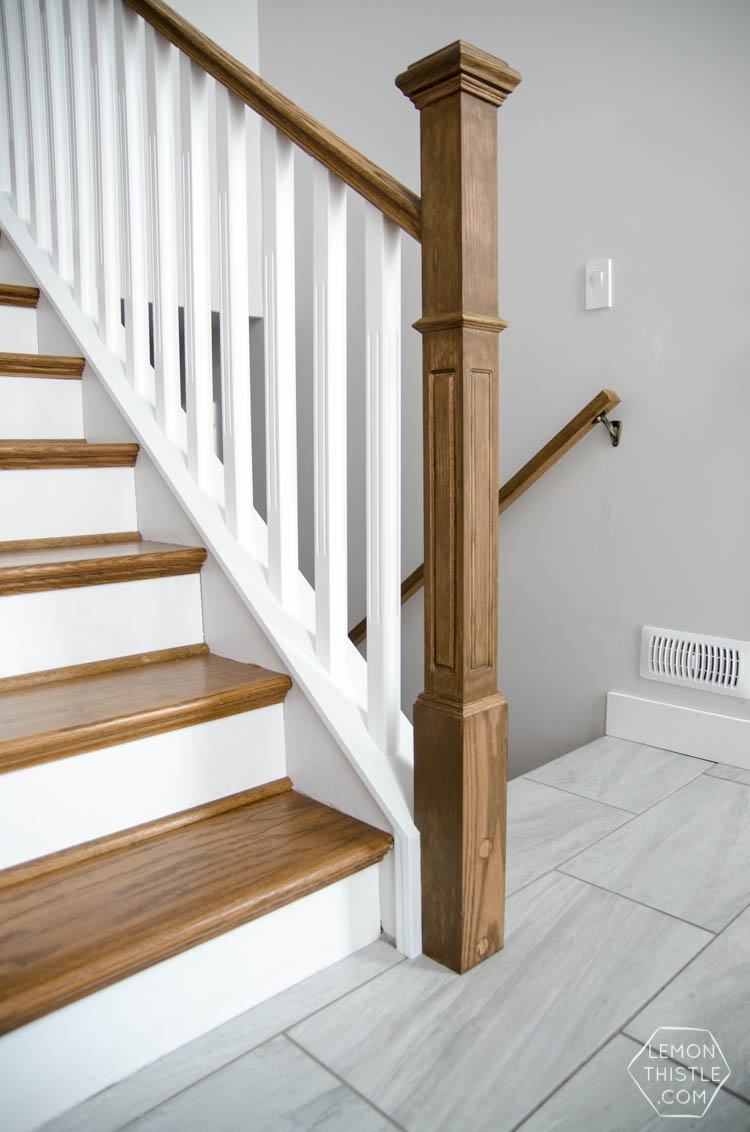 How To Install A Wooden Handrail On Split Level Stairs Lemon Thistle | Replacing Particle Board Stair Treads | Basement Stairs | Carpeted Stairs | Plywood | Stair Nosing | Stair Case