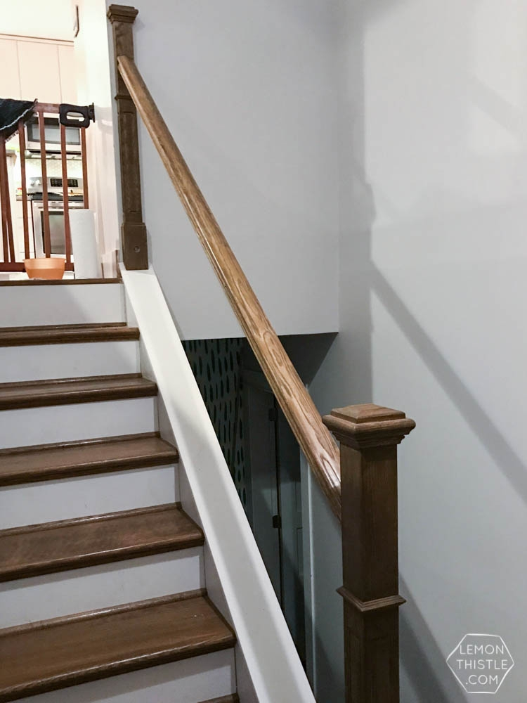 How To Install A Wooden Handrail On Split Level Stairs Lemon Thistle   Split Level Stair Railing   Electrical Conduit   Wood   Julia   Entryway   Tri Level