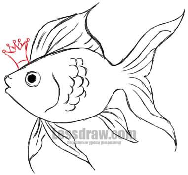 Paano Gumuhit ng Goldfish.