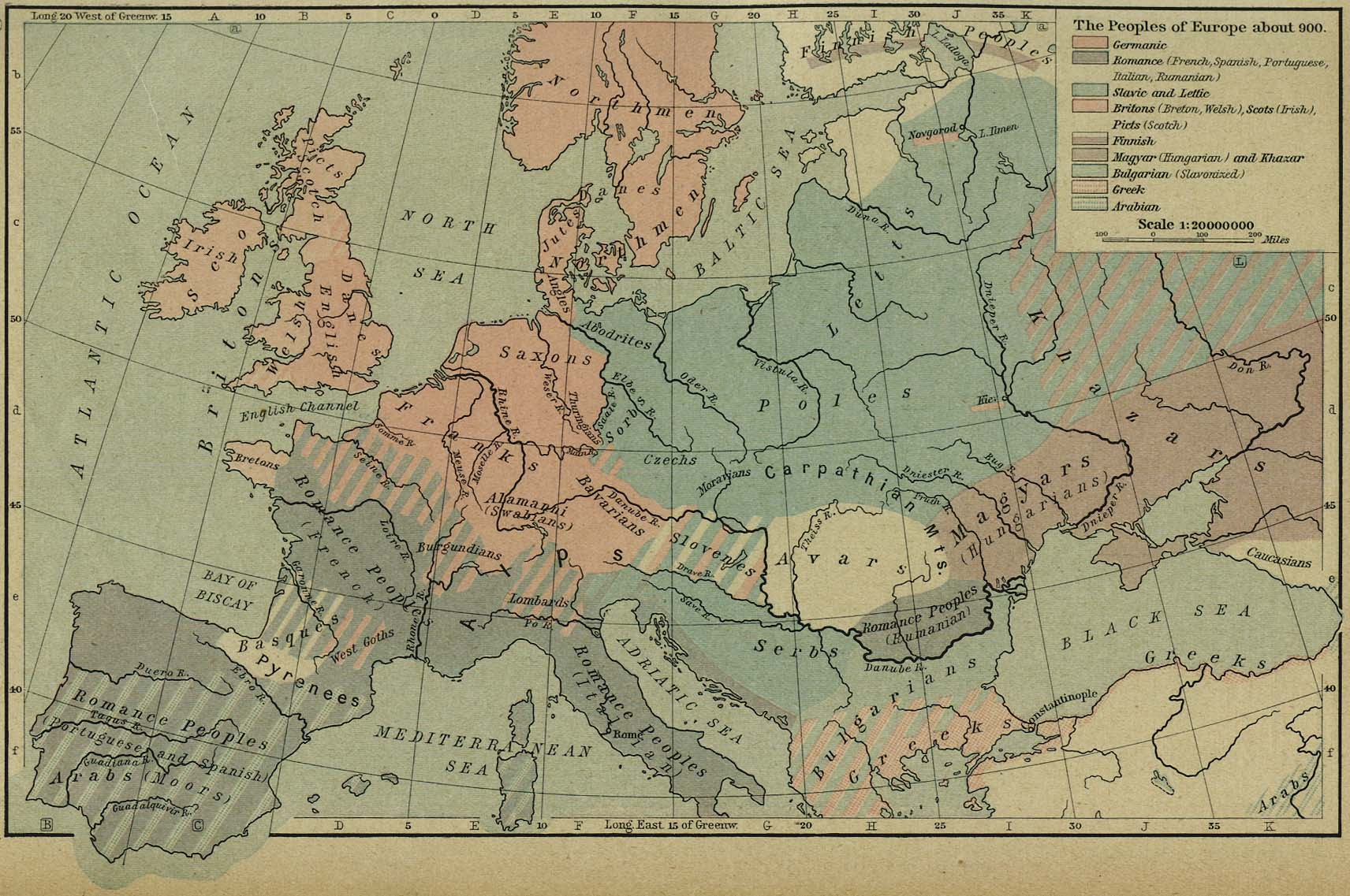 Historical Maps of Europe     The Peoples of Europe about 900