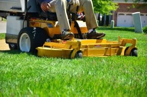 Yellow rider mower cutting a client's side yard.