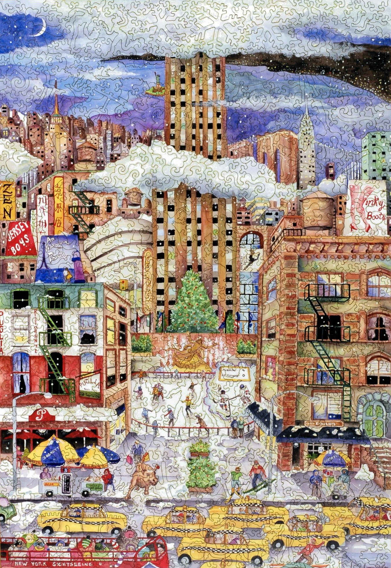 Light Snowfall In New York Wooden Jigsaw Puzzle