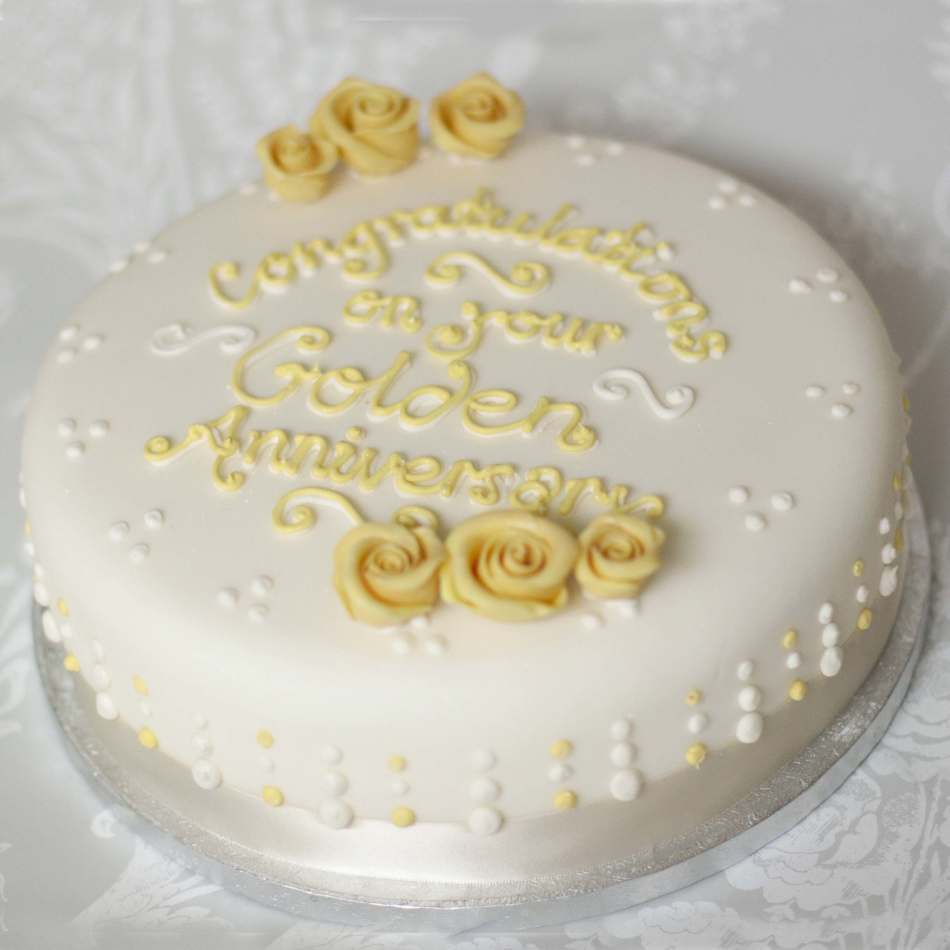 Round Golden Wedding Anniversary Cake   Celebrations Round Golden Wedding Anniversary Cake
