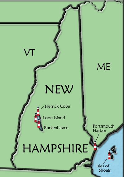 New Hampshire Lighthouse Map