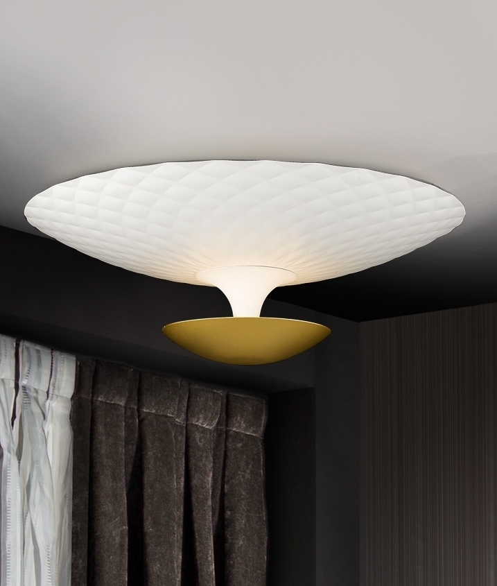 White And Gold Flush Ceiling Light With Indirect Light