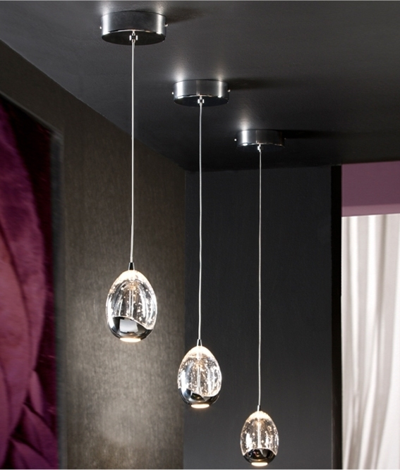 Led Single Drop Pendant With Bubbles Inside The Glass