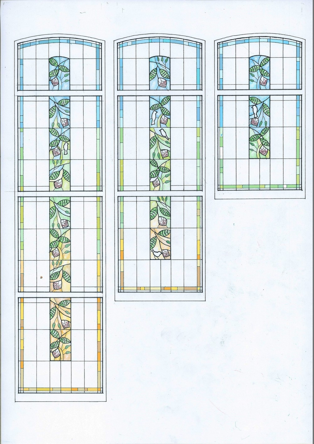 New Bespoke Stained Glass For 1920 S Staircase Window   Staircase Window Glass Design   Geometric   Architecture   Flower   Residential   Glass Brick