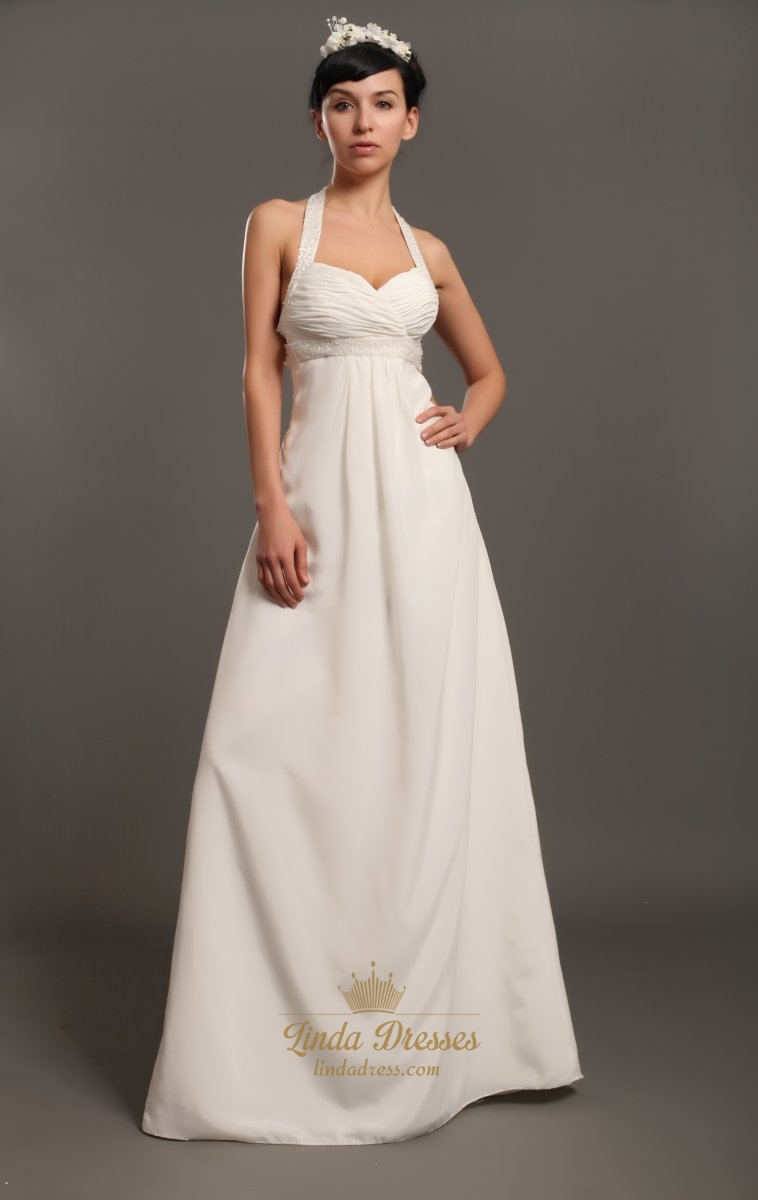 Ivory Halter Neck Empire Waist Chiffon Wedding Dresses