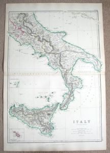 ITALY SOUTH  SICILY  MALTA  Hughes antique map 1860 ITALY SOUTH  SICILY  MALTA  Hughes antique map 1860