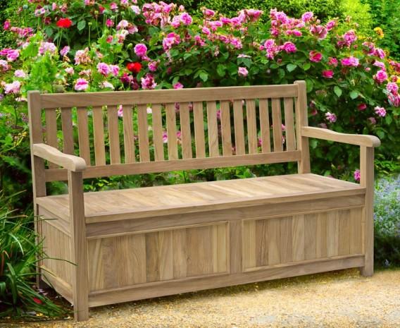Windsor Teak 5ft Garden Storage Bench With Arms Lindsey Teak