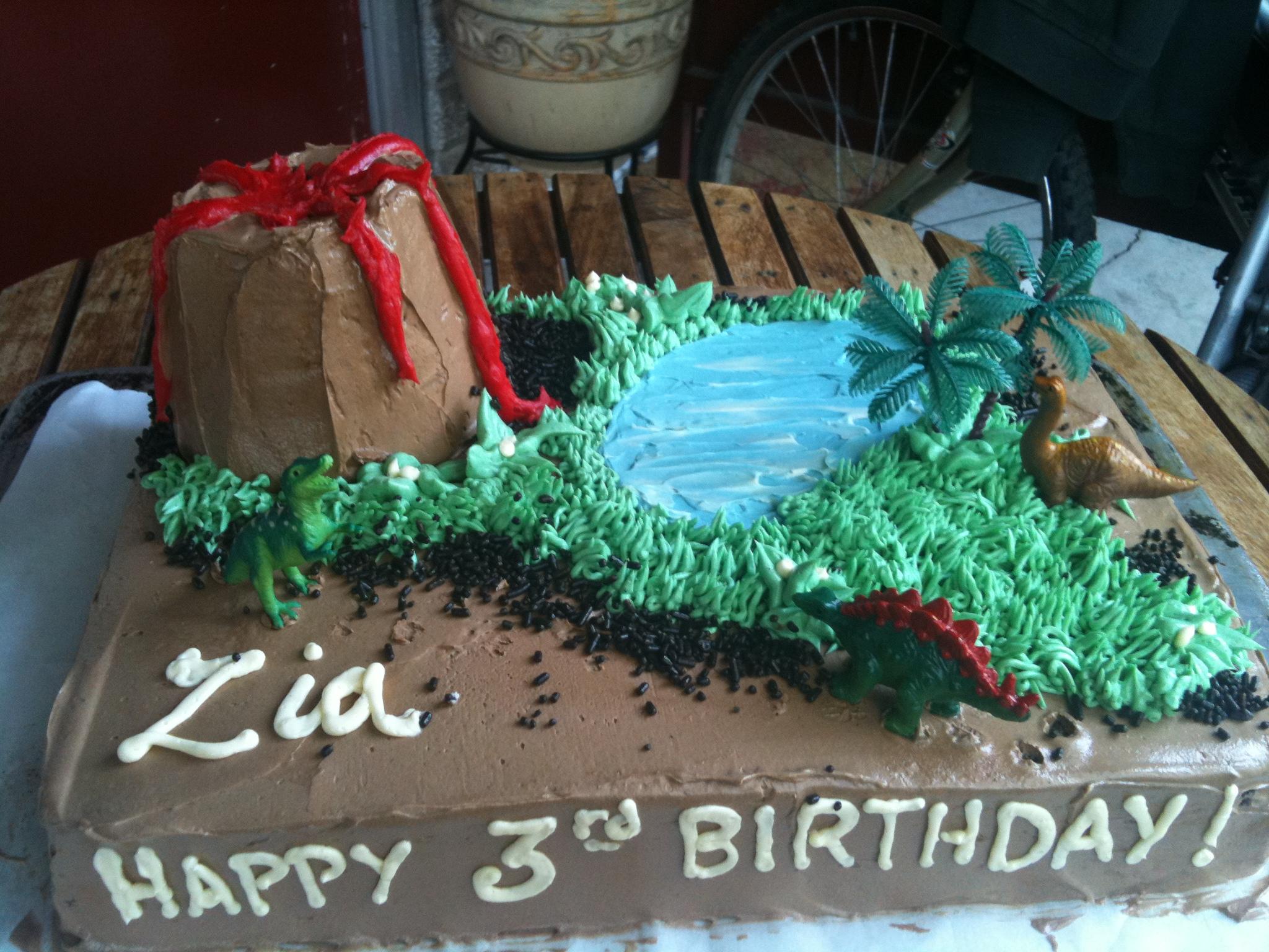 Cake Dinosaur Volcano