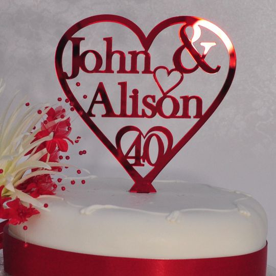 40th Ruby Wedding Anniversary Cake Topper Personalised Names Heart     40th Ruby Wedding Anniversary Cake Topper Personalised Names Heart   Red  Mirror Acrylic