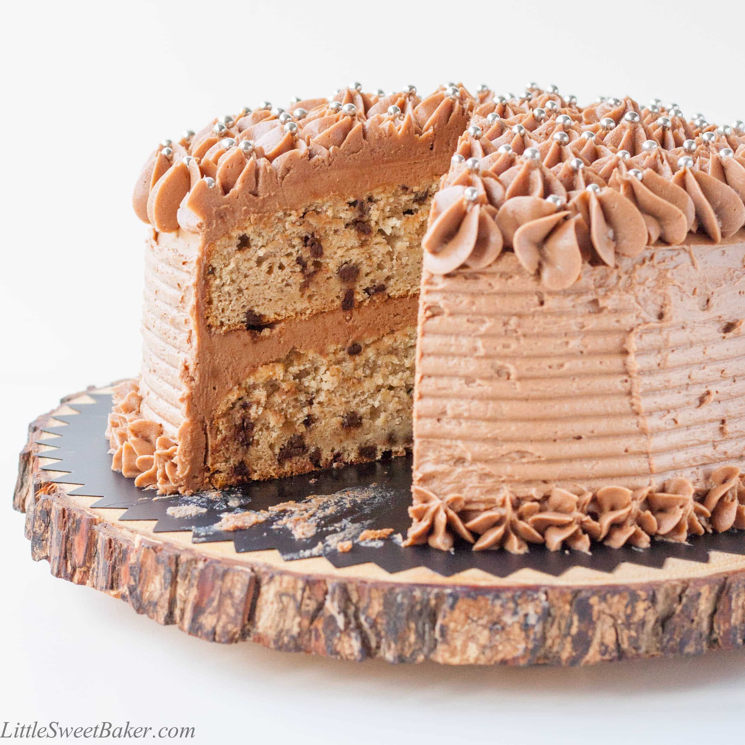 Banana Chocolate Chip Cake with Milk Chocolate Buttercream What  A dense  moist  banana bread like cake with the added taste and  texture of sweet mini chocolate chips in every bite  There s a delicate  hint of