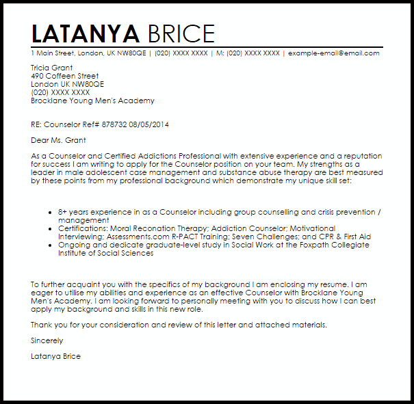 City Maps » Substance Abuse Counselor Cover Letter